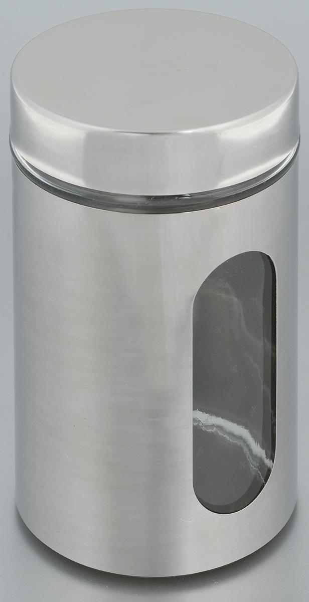 Банка для хранения Zeller, 750 мл. 1994619946Банка Zeller, выполненная из антикоррозийной стали и прочного стекла, снабжена крышкой, которая плотно и герметично закрывается, дольше сохраняя аромат и свежесть содержимого. Изделие подходит для хранения сыпучих продуктов: круп, чая, специй, орехов, сахара и многого другого. Банка имеет прозрачное окошко. Благодаря антистатической поверхности продукты не прилипают к стеклянному окошку, поэтому вы всегда можете видеть, что и в каком количестве содержится внутри. Такая функциональная и вместительная банка станет незаменимым аксессуаром на любой кухне. Диаметр банки (по верхнему краю): 9 см.Высота банки (без учета крышки): 17,5 см.