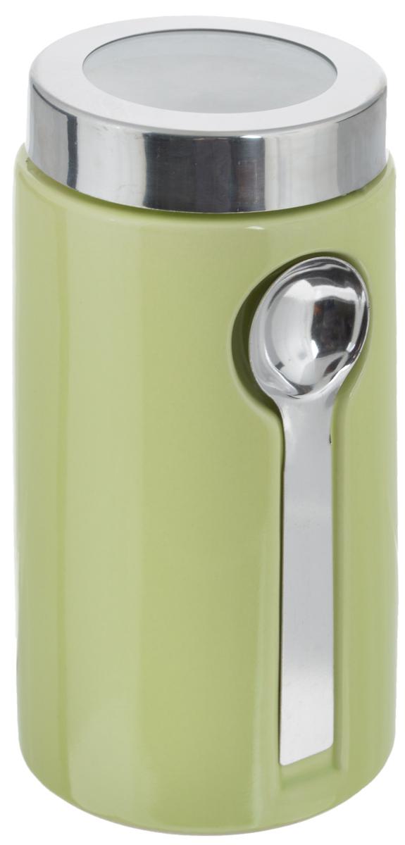Банка для сыпучих продуктов Zeller, с ложкой, цвет: светло-зеленый, 900 мл19800Банка Zeller изготовлена из высококачественной керамики. Емкость снабжена крышкой из пластика и металла, которая плотно закрывается, дольше сохраняя аромат и свежесть содержимого. Изделие оснащено металлической ложкой, которая крепится к банке с помощью магнитов. Банка подходит для хранения сыпучих продуктов: круп, специй, сахара, соли. Она станет полезным приобретением и пригодится на любой кухне.Диаметр по верхнему краю: 9 см.Высота (с учетом крышки): 19 см. Длина ложки: 14 см.