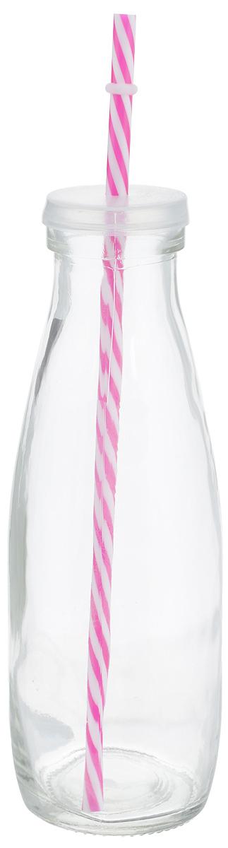 Емкость для напитков Zeller, с трубочкой, цвет: прозрачный, фуксия, 475 мл19721Емкость Zeller, выполненная из высококачественного стекла в виде бутылки, снабжена трубочкой и пластиковой крышкой с отверстием для трубочки. Изделие предназначено для сока, воды и других напитков. Емкость очень удобна в использовании. Она пригодится как дома, так и на даче.Диаметр по верхнему краю: 4,5 см. Высота емкости: 21 см. Длина трубочки: 26 см.