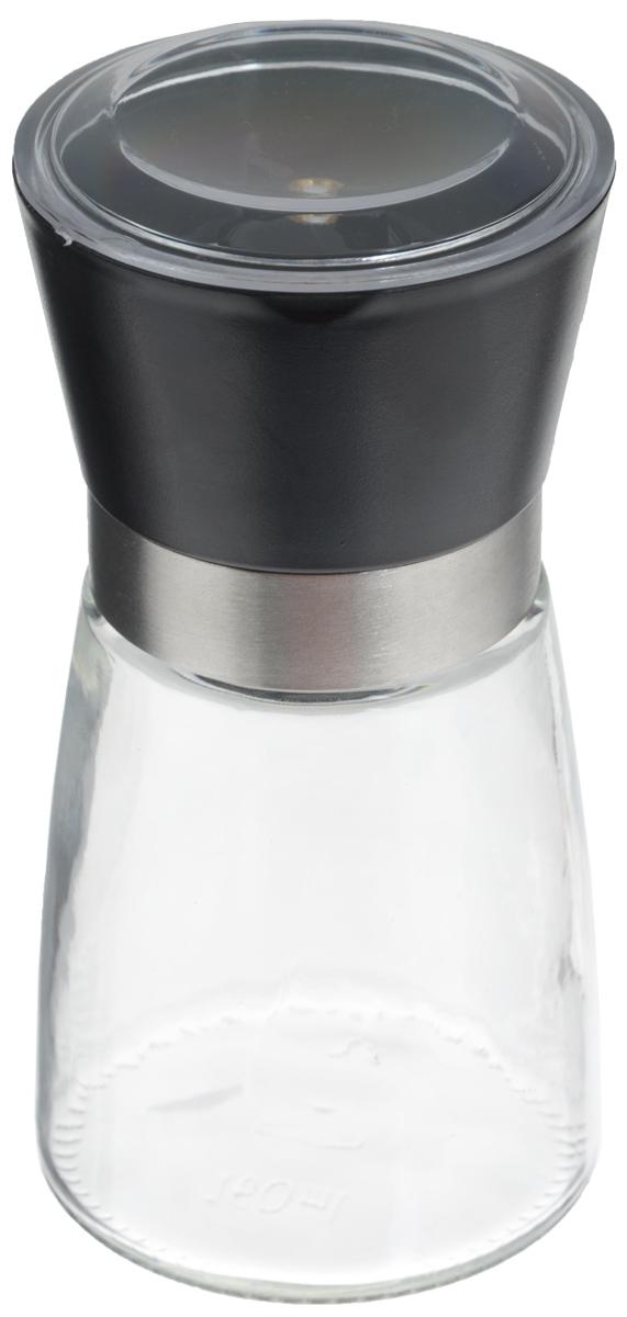 Мельница для специй Zeller, цвет: прозрачный, черный, высота 13,5 см19765Мельница Zeller, изготовленная из стекла и пластика, легка в использовании. Необходимо насыпать специи внутрь емкости, достаточно только покрутить механизм, и вы с легкостью сможете поперчить или посолить по своему вкусу любое блюдо. Крышка сохраняет аромат специй. Механизм мельницы изготовлен из керамики.Оригинальная мельница станет достойным дополнением ваших кухонных аксессуаров. Высота мельницы: 13,5 см.Диаметр мельницы: 6,5 см.