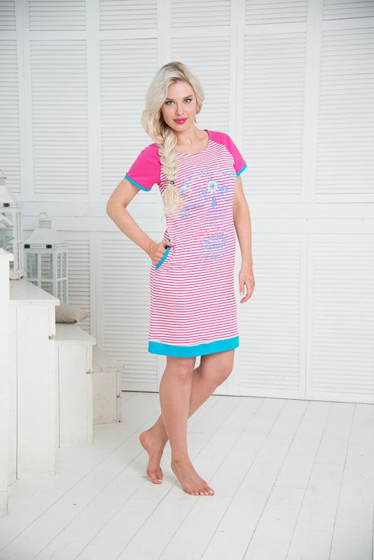 Платье домашнее Santi, цвет: белый, розовый, голубой. SS16-PL-05. Размер 40/42SS16-PL-05Домашнее платье Santi выполнено из натурального хлопка. Платье-миди с круглым вырезом горловины и короткими рукавами оформлено принтом в полоску, спереди - принтом в морском стиле. По бокам расположены втачные карманы. Рукава, края карманов и низ изделия дополнены трикотажными резинками.