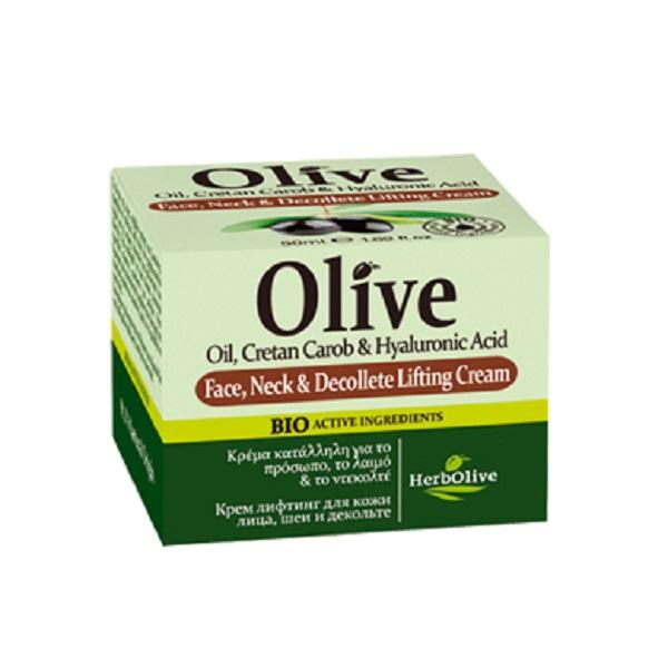 HerbOlive Лифтинг-крем для лица, шеи и зоны декольте 50 мл5200310405006Крем с лифтинг эффектом для лица, шеи и декольте. Содержит натуральные ценные компоненты: масла оливы, карите, арганы, миндаля, розмарин, экстракт рожкового дерева, гиалуроновую кислоту, которые увлажняют кожу, питают витаминами и микроэлементами. Крем выравнивает тон кожи, заботится о чувствительной коже декольте, защищает от старения.Рекомендуется с 20 лет. Легкая текстура крема подходит для всех типов кожи.Косметика произведена в Греции на основе органического сырья, НЕ СОДЕРЖИТ минеральные масла, вазелин, пропиленгликоль, парабены, генетически модифицированные продукты (ГМО)