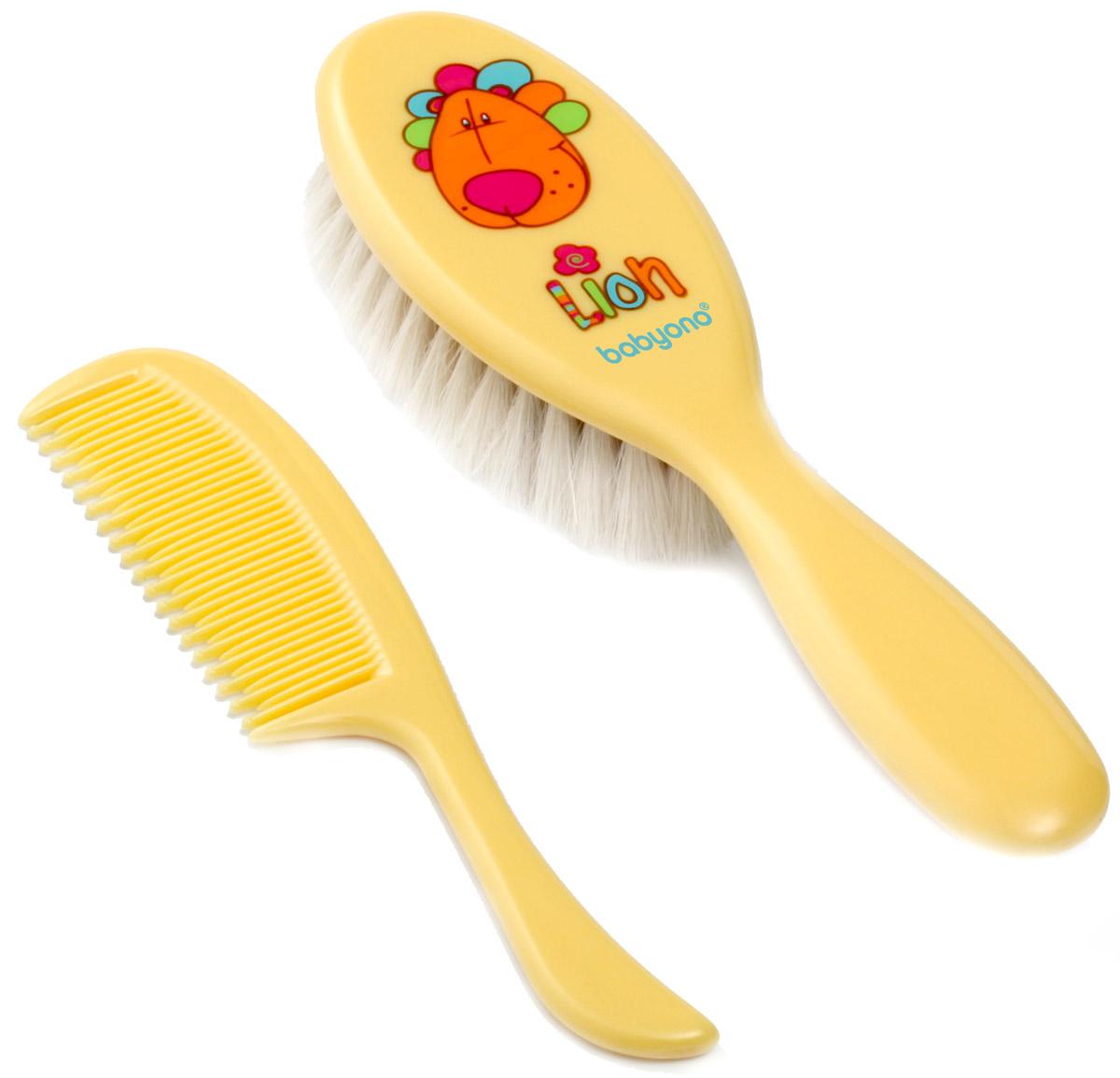 BabyOno Набор детский Лев Расческа и щетка для волос цвет желтый babyono набор детский расческа и щетка для волос цвет светло коралловый