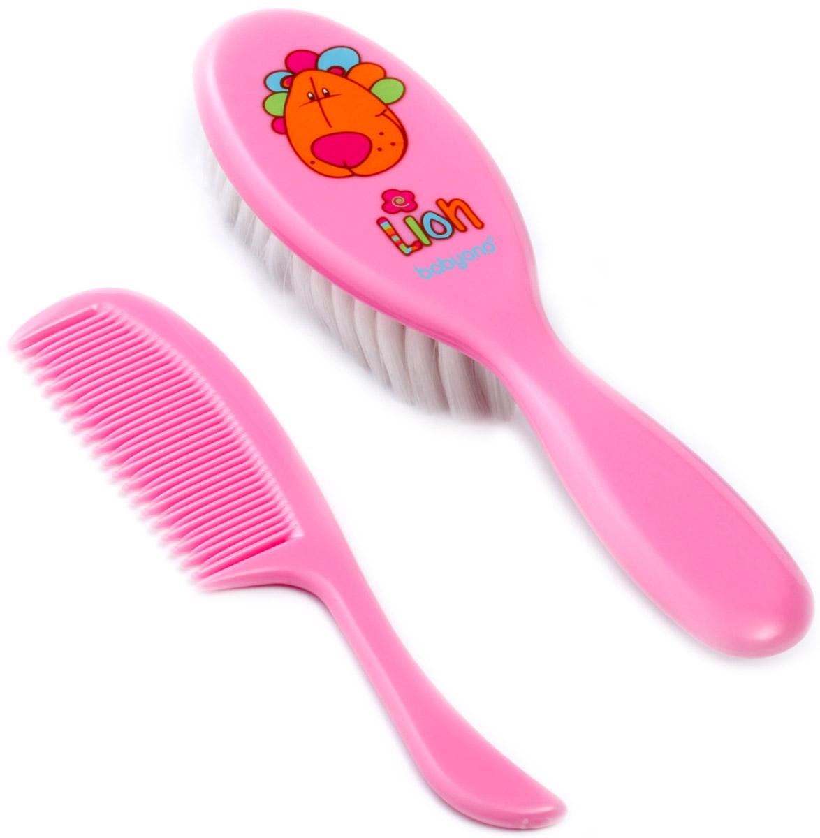 BabyOno Набор детский Лев Расческа и щетка для волос цвет розовый babyono набор детский расческа и щетка для волос цвет светло коралловый