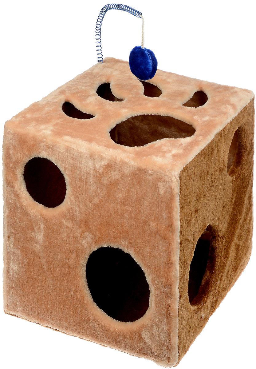 Домик для кошек ЗооМарк  Кубик с лапкой , с игрушкой, цвет: бежевый, коричневый, 42 х 42 х 42 см