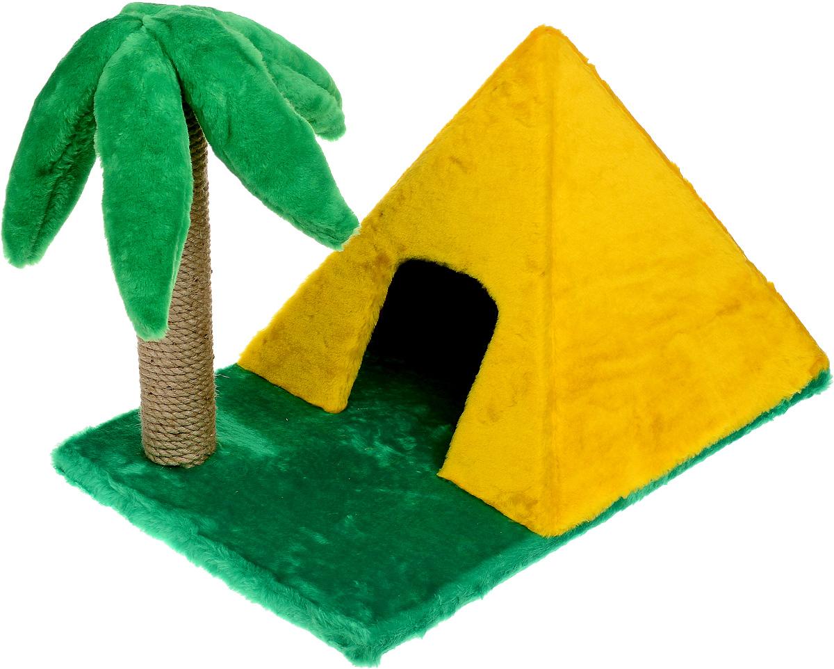 Домик для животных ЗооМарк Пирамидка, с когтеточкой, 63 х 40 х 44 см116Домик ЗооМарк Пирамидка непременно станет любимым местом отдыха вашего домашнего животного. Он изготовлен из ДСП и обтянут искусственным мехом. Домик выполнен в виде пирамиды, стоящей на траве. Рядом расположена когтеточка в виде высокой пальмы.Оригинальный домик - отличное место, чтобы спрятаться. Также там можно хранить свои охотничьи трофеи.Размер домика (без учета основания): 40 х 40 х 36 см.Высота пальмы (без учета основания): 41 см.