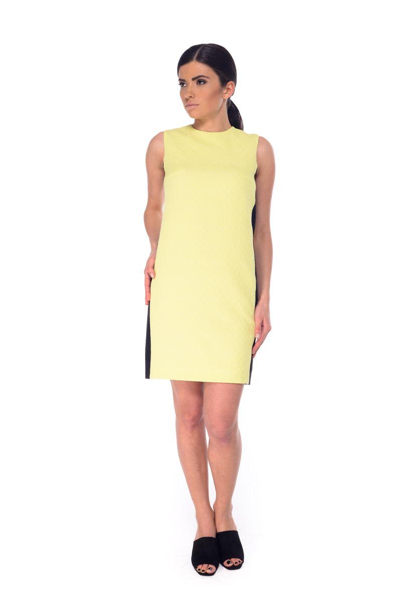 Платье Arefeva, цвет: светло-желтый, черный. 09051. Размер M (46)09051Платье Arefeva выполнено из полиэстера с добавлением эластана и дополнено тонкой подкладкой. Модель с круглом вырезом горловины застегивается на потайную застежку-молнию расположенную в среднем шве спинки. Платье-миди оформлено оригинальным узором и вставками контрастного цвета.