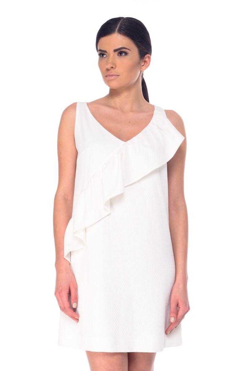 Платье Arefeva, цвет: молочный. L 9054. Размер M (46)L 9054Модное платье Arefeva поможет создать отличный современный образ. Модель, изготовленная из нейлона и вискозы с добавлением полиэстера и спандекса, застегивается на скрытую застежку-молнию, расположенную на спинке. Платье-миди с V-образным вырезом горловины и без рукавов оформлено рельефным принтом и рюшами.