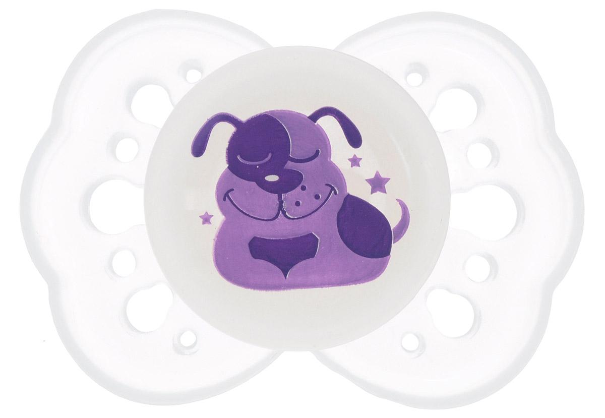 Lubby Пустышка силиконовая для сна Нежная Собачка от 0 месяцев