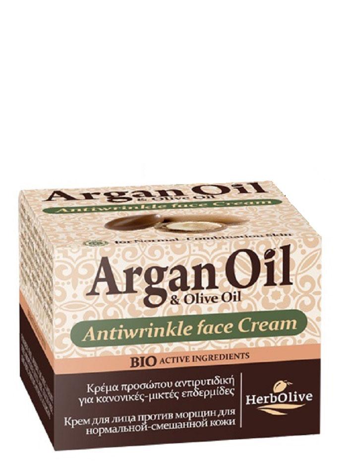 ArganOil Крем для лица против морщин для нормальной и комбинированной кожи 50 мл11025738Крем против морщин для нормальной и комбинированной кожи. Рекомендуется с 30 лет.Активные вещества: масло арганы, масло карите, витамин Е, которые известны своими увлажняющими, восстанавливающими и питательными свойствами. Входящий в состав экстракт витекса, согласно исследованиям, повышают выработку коллагена. Его ингредиенты устраняют морщины, восстанавливают кожу, сохраняют контур лица и придают сияние и свежесть. Косметика произведена в Греции на основе органического сырья, НЕ СОДЕРЖИТ минеральные масла, вазелин, пропиленгликоль, парабены, генетически модифицированные продукты (ГМО)