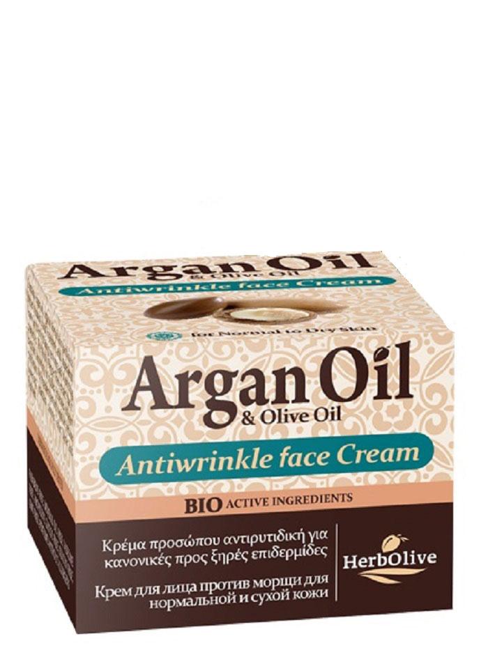ArganOil Крем против морщин для нормальной и сухой кожи 50 мл5200310402791Крем против морщин для нормальной и сухой кожи. Рекомендуется с 30 лет.Активные вещества: масло арганы, органическое оливковое масло, карите, витамин Е, гиалуроновая кислота которые известны своими увлажняющими, восстанавливающими и питательными свойствами. Входящий в состав экстракт витекса, согласно исследованиям, повышают выработку коллагена. Его ингредиенты устраняют морщины, восстанавливают кожу, сохраняют контур лица и придают сияние и свежесть. Косметика произведена в Греции на основе органического сырья, НЕ СОДЕРЖИТ минеральные масла, вазелин, пропиленгликоль, парабены, генетически модифицированные продукты (ГМО)