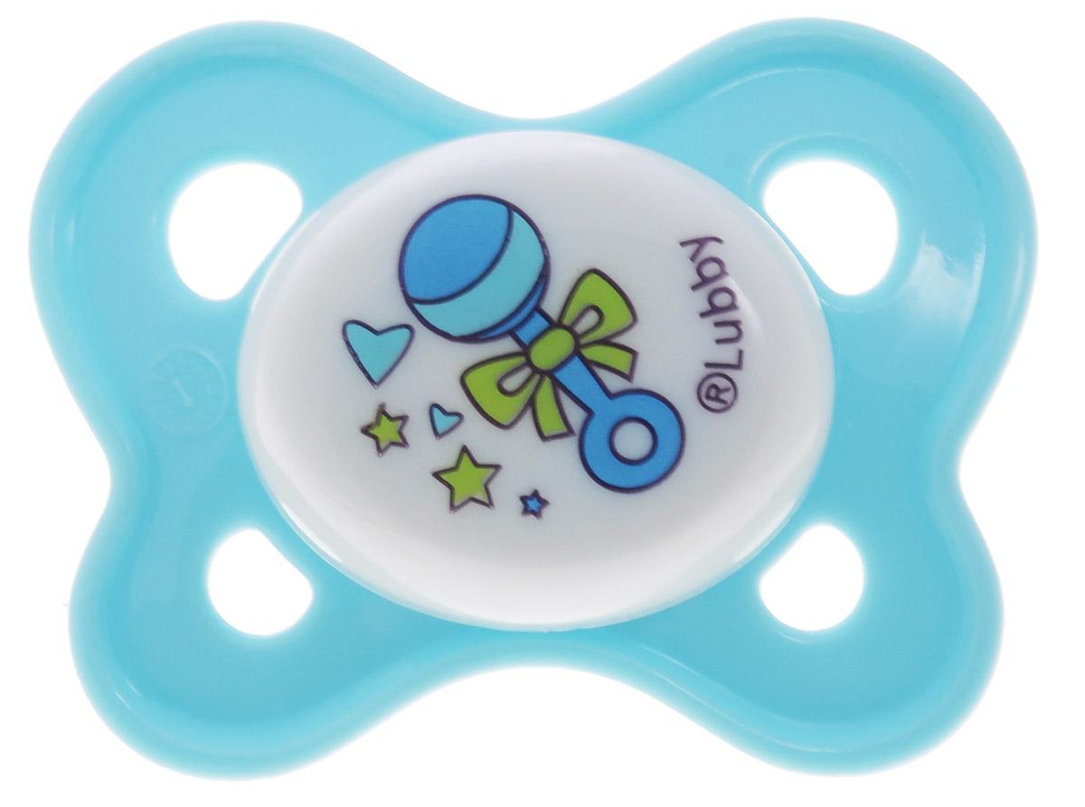 Lubby Пустышка силиконовая Кнопочка от 0 месяцев цвет голубой