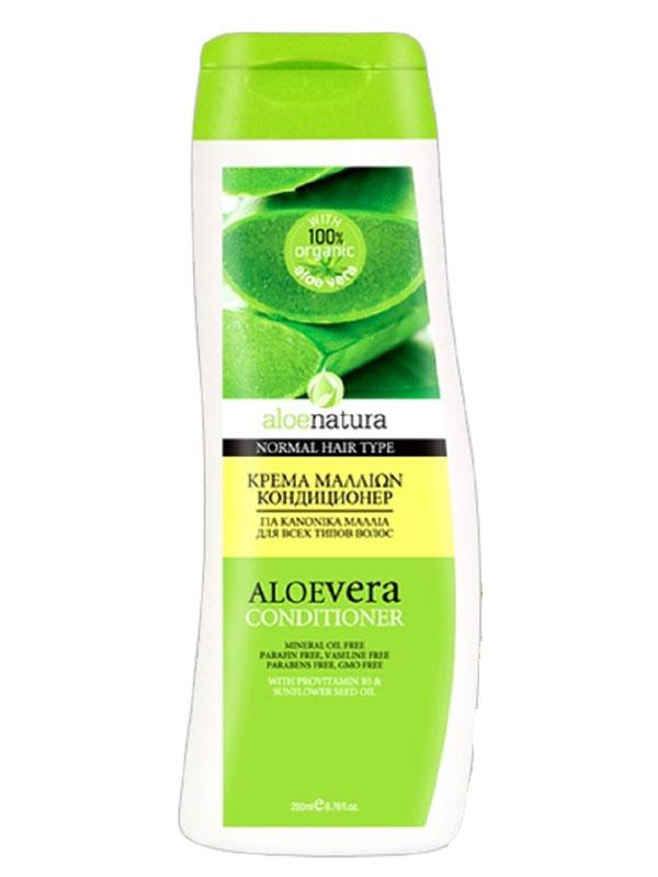 AloeNatura Кондиционер для всех типов волос 200 мл5200310403040Кондиционер бережно увлажняет и укрепляет, сохраняя естественную защиту волоса.Делает волосы здоровыми, блестящими и шелковистыми.Подходит для всех типов волос.Косметика произведена в Греции на основе органического сырья, НЕ СОДЕРЖИТ минеральные масла, вазелин, пропиленгликоль, парабены, генетически модифицированные продукты (ГМО)