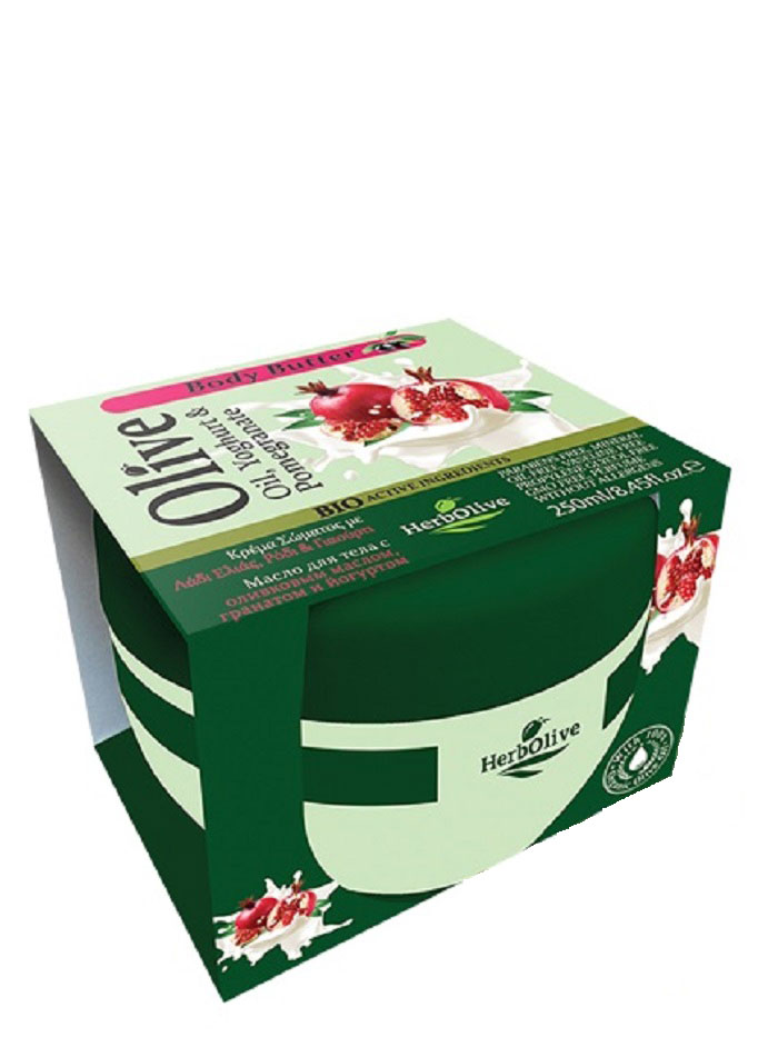 HerbOlive Масло для тела с йогуртом и экстрактом граната 250 мл5200310404122Твердое масло для тела с йогуртом и экстрактом граната при соприкосновении с кожей нежно тает, питая, увлажняя и одаривая тело ароматом греческих масел и экстрактов.В составе:органический экстракт граната, молочный протеин, а также, ценные масла карите, оливы, миндаля, пантенол. Средство омолаживает кожу, устраняет стянутость, шелушение, тонизирует кожу, хорошо впитывается, не оставляет ощущение жирности. Косметика произведена в Греции на основе органического сырья, НЕ СОДЕРЖИТ минеральные масла, вазелин, пропиленгликоль, парабены, генетически модифицированные продукты (ГМО)