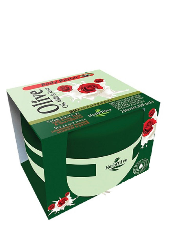 HerbOlive Масло для тела с молоком и экстрактом масла розы 250 мл5200310404153Твердое масло для тела с молоком и экстрактом розы при соприкосновении с кожей нежно тает, питая, увлажняя и одаривая тело ароматом греческих масел и экстрактов растений.В составе: Натуральные питательные ингредиенты масло розы, молочный протеин, ценные масла оливы, карите, оливы, миндаля, пантенол. Средство увлажняет кожу, устраняет стянутость, шелушение, тонизирует кожу, хорошо впитывается, не оставляет ощущение жирности. Косметика произведена в Греции на основе органического сырья, НЕ СОДЕРЖИТ минеральные масла, вазелин, пропиленгликоль, парабены, генетически модифицированные продукты (ГМО)