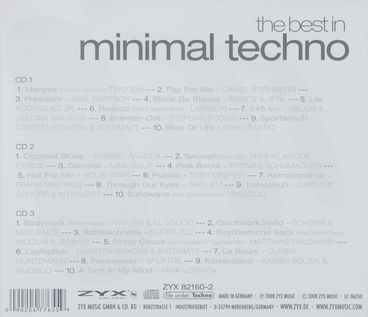 The Best In Minimal Techno (3 CD) ZYX Music,Волтэкс-инвест