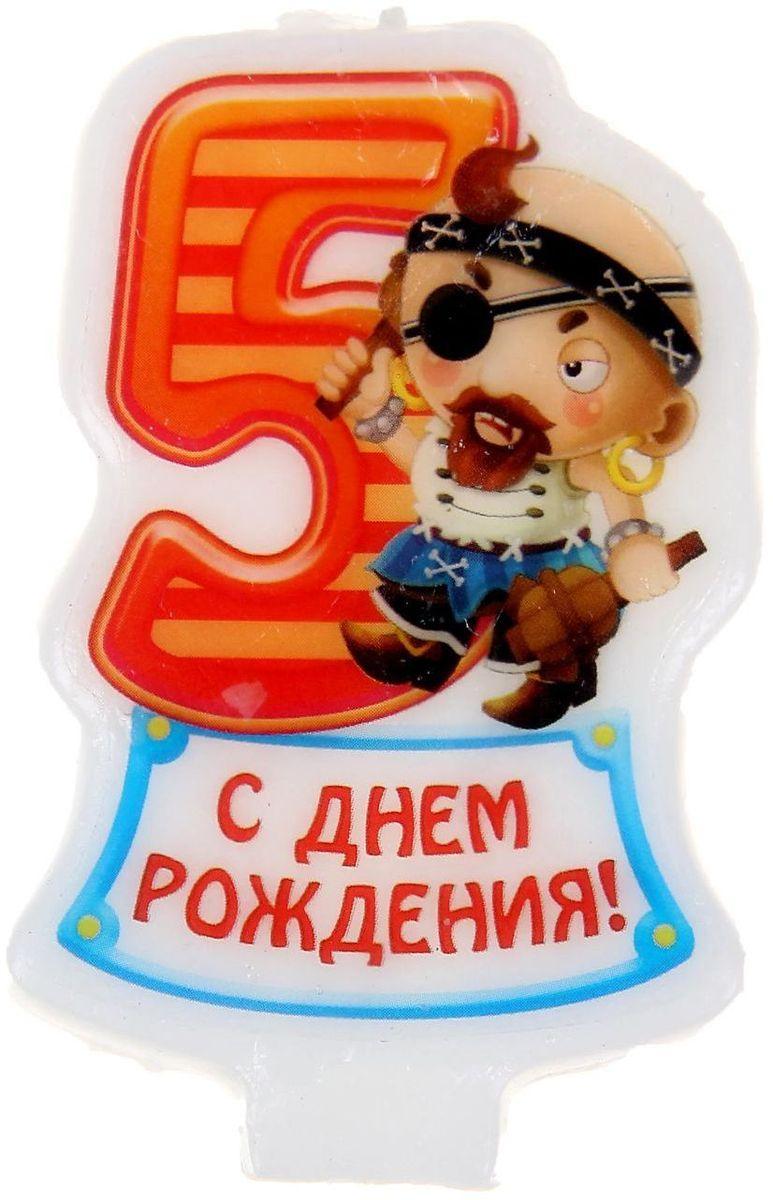 Sima-land Свеча в торт серия Пираты цифра 5, 4,8 х 7,3 см 1056448