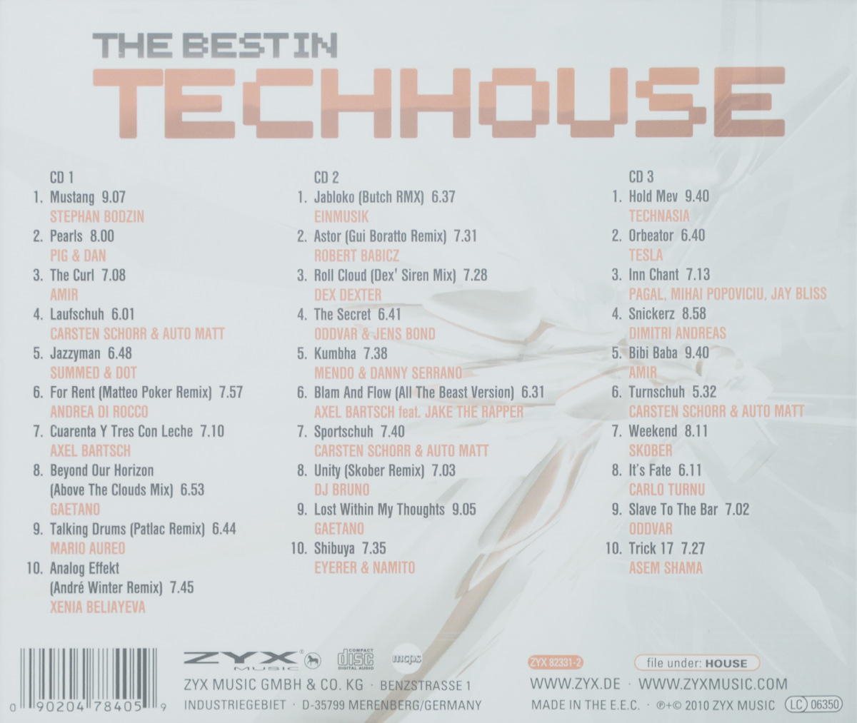 The Best In Tech House (3 CD) ZYX Music,Волтэкс-инвест