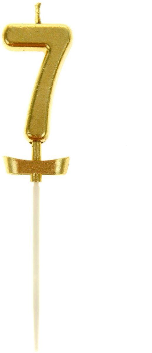 Sima-land Свеча в торт под золото цифра 7 10,2 х 5 3 см 834419 свеча ароматизированная sima land лимон на подставке высота 6 см