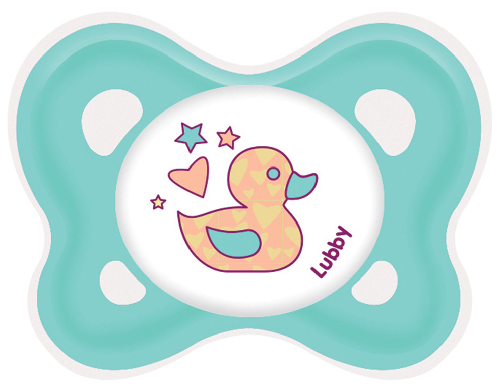 Lubby Пустышка силиконовая Кнопочка от 0 месяцев цвет бирюзовый