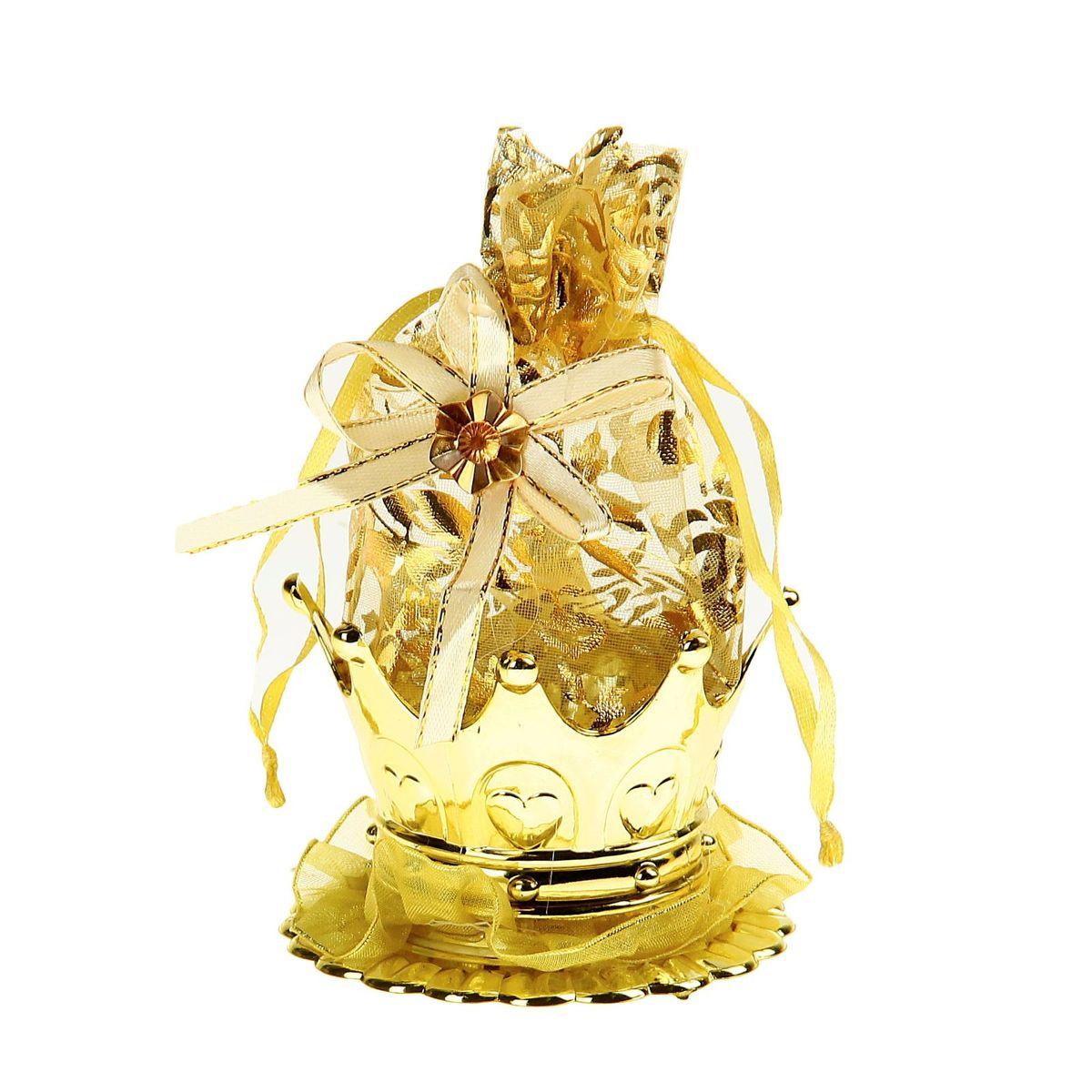 Бонбоньерка Sima-land Корона, цвет: золото, 7 x 7 x 14 см кармашки на стену sima land приятные мелочи цвет салатовый розовый бордовый 5 шт