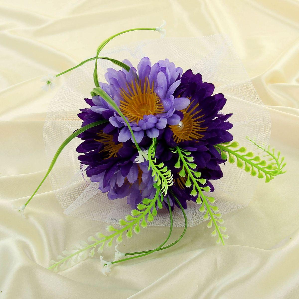 Букет-дублер Sima-land, цвет: фиолетовый. 11350901135090Современные невесты используют букеты из искусственных материалов, потому что они легче, дешевле и не рассыпаются в полёте. Ведь для многих незамужних подружек поймать букет на свадьбе — шанс осуществления заветной мечты.Кроме свадебной тематики изделие используют для фотосессий, так как оно не утрачивает праздничный вид даже в непогоду, и как элемент украшения интерьера. Оригинальный букет будет, несомненно, в центре внимания на торжественном событии.