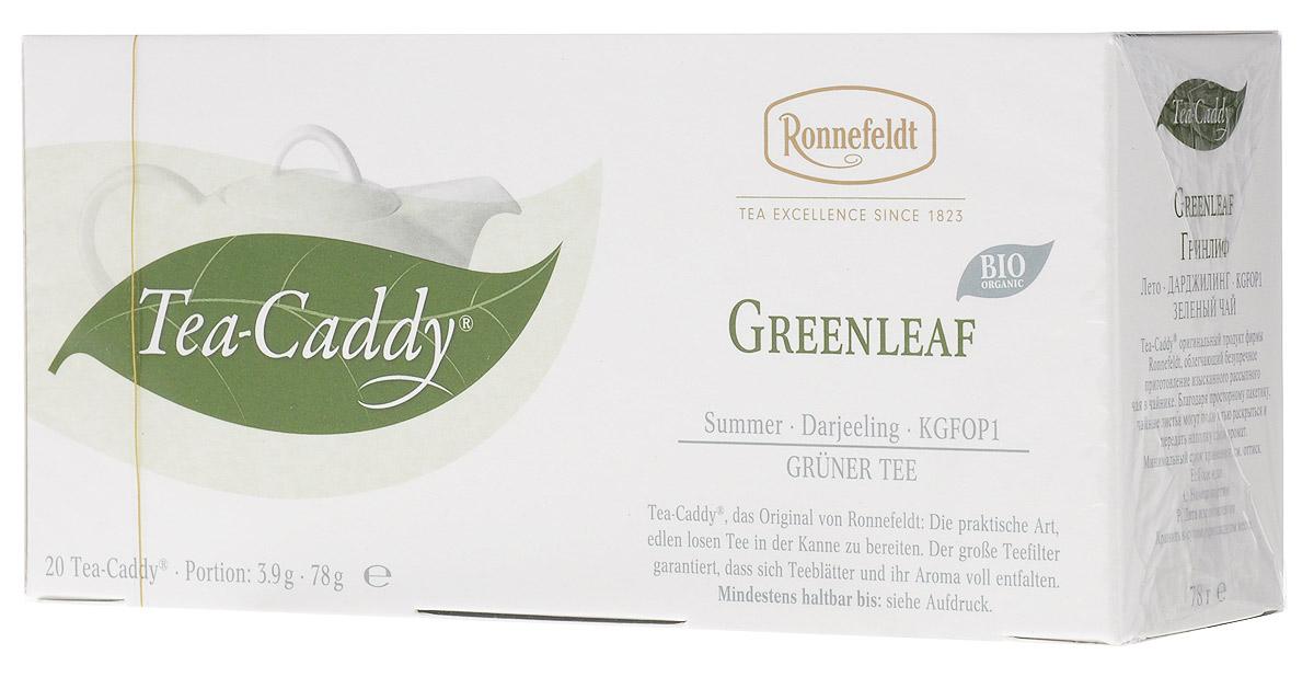 Ronnefeldt Гринлиф зеленый чай в пакетиках для чайника, 20 шт13080Бережно обработанный чай c индийского высокогорья обладает нежно-терпким ароматом Дарджилинга.Этот чай по качеству и вкусу соответствует листовому чаю - ведь это и есть листовой чай, но уже порционированный для чайника. Чайные листья находятся в индивидуальном просторном пакетике, где они могут полностью раскрыться и превратить напиток в истинное наслаждение.