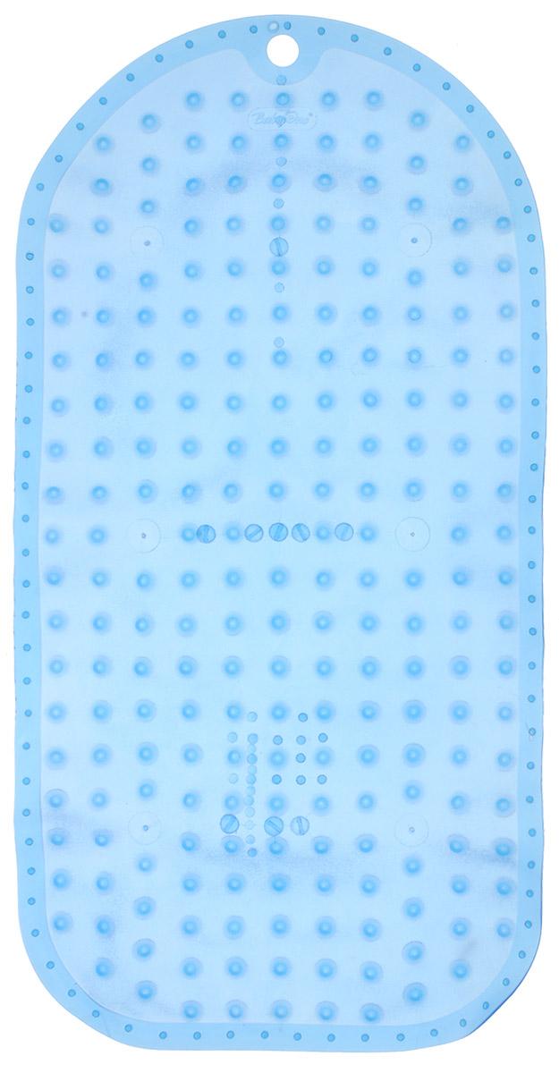 BabyOno Коврик противоскользящий для ванной цвет голубой 70 х 35 см1346Противоскользящий коврик BabyOno предназначен для детских ванночек, ванн и душевых кабин. Имеет присоски, исключающие перемещение коврика по поверхности.Для правильного закрепления коврика следует сначала наполнить ванну водой, а затем вложить коврик и равномерно прижать с каждой стороны.Во время купания ребенок должен находиться под постоянным присмотром взрослого. Перед первым и после каждого купания коврик следует промыть в теплой воде с добавлением детского мыла, ополоснуть и высушить. Изделие не является игрушкой. Хранить в месте, недоступном для детей. Не содержит фталатов.Товар сертифицирован.