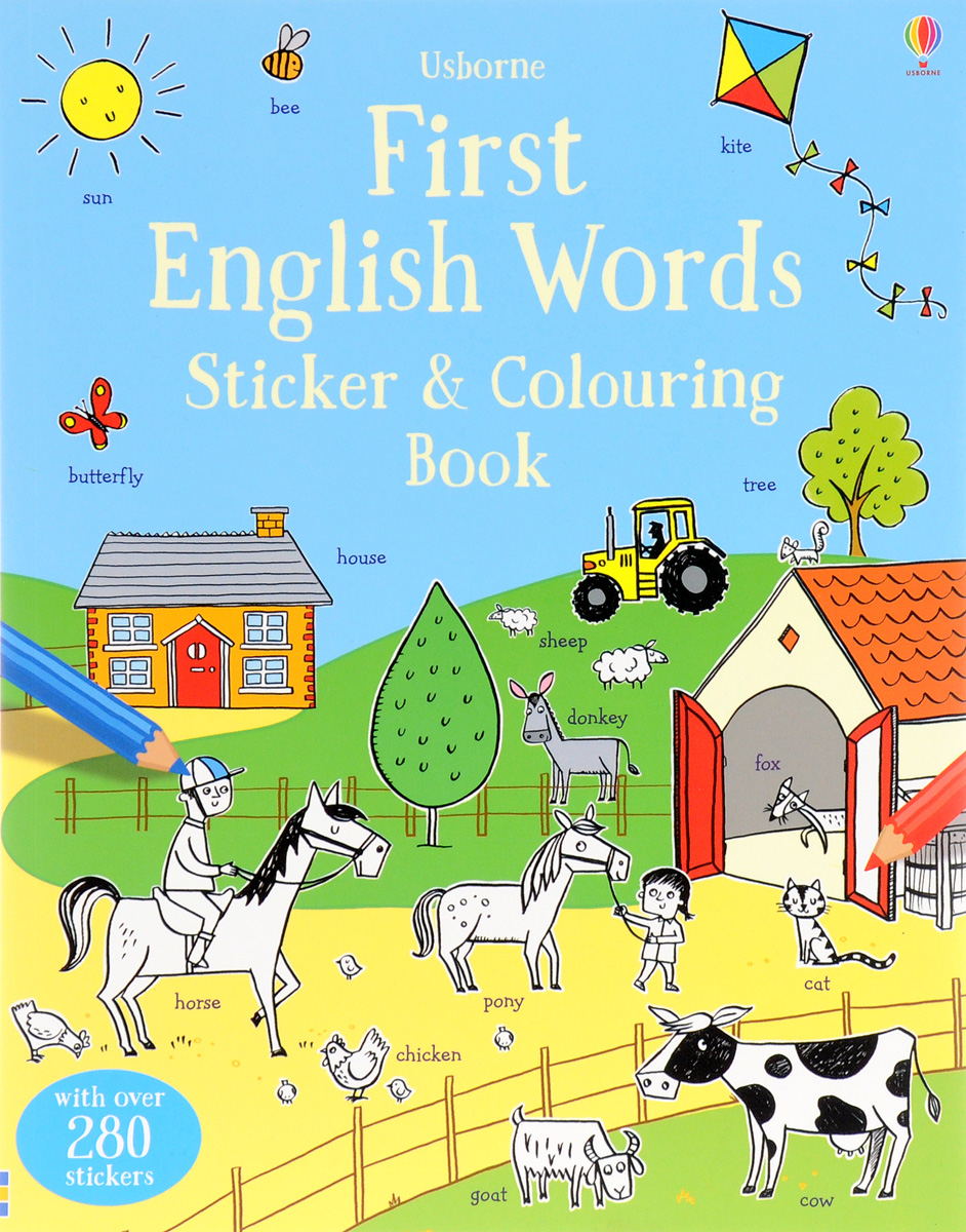 First English Words Sticker and Colouring Book недорого