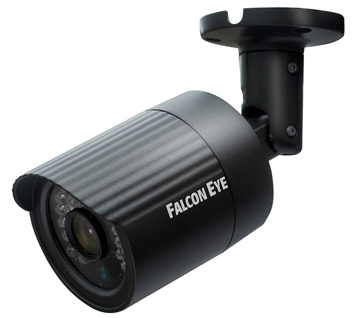 Falcon Eye FE-IPC-BL100P уличная IP-камераFE-IPC-BL100PСетевая уличная видеокамера Falcon Eye FE-IPC-BL100P построена на CMOS матрице OmniVision 1/4, с разрешением 1.3 мегапикселя. На устройстве установлен объектив с фокусным расстоянием 2,8 мм, что при матрице такого размера будет давать угол обзора, сопоставимый с объективом 3,6 мм. Камера выполнена в миниатюрном металлическом корпусе и способна выдавать в сеть видео поток с разрешением 1280х720Р. Возможность работать по Poe является дополнительным бонусом данной модели.Скорость затвора: 1/25 - 1/10000День/ночь: Auto/B/W/Color/EXT ICR switchingФункционал: DWDR, 3D NКРазрешение: 1280 х 720Видео: Bit rate 1024Kbps-6144KbpsМобильные платформы: Apple, AndroidПотребляемая мощность: менее 5 ВтКак выбрать камеру видеонаблюдения для дома. Статья OZON Гид
