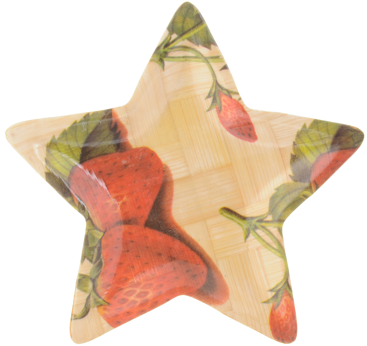 Тарелка Wanxie Звезда, цвет: бежевый, красный, зеленый, 13,5 x 13,5 x 1 смWH-701S_бежевый, красный, зеленыйТарелка Wanxie Звезда изготовлена из бамбука в виде звезды. Блюдо прекрасно подходит для того, чтобы подавать небольшие кусочки фруктов, ягоды и многое другое. Невероятно легкое, но в то же время крепкое и экологически чистое блюдо - незаменимый и очень полезный аксессуар на кухне, а благодаря нежной расцветке подойдет к любому интерьеру. Посуда из бамбука - интересное решение для создания эксклюзивных и стильных кухонных интерьеров. Бамбук экологичен и безопасен для здоровья, не боится влаги, устойчив к перепадам температуры. Несмотря на легкость и изящество, изделие прочно и долговечно. Посуда из бамбука проста в уходе и красива.Размер тарелки по верхнему краю: 13,5 х 13,5 см.