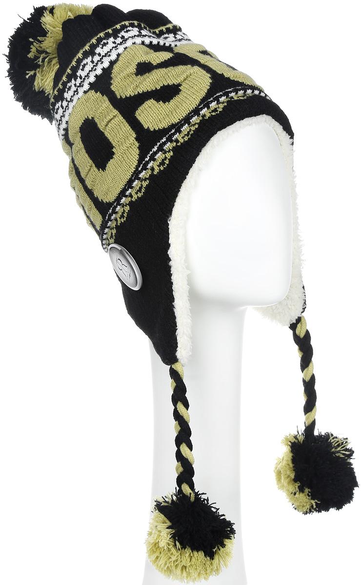 Шапка-ушанка унисекс Robin Ruth Moscow, цвет: черный, оливковый. KMOS003-E. Размер универсальныйKMOS003-EШапка Robin Ruth выполнена из акрила, сохраняющего тепло. Внешняя сторона - вязаное полотно, подкладка - мягкий флис. Шапка с завязками очень практична - благодаря широким и длинным ушкам тепло и комфорт вам обеспечены даже в самую ветреную погоду.Шапка оформлена помпоном, завязки выполнены в виде кос с помпонами на концах, лицевая сторона декорирована вязаной надписью Moscow и пластиковым значком с логотипом фирмы. Такая шапка идеальная для активного отдыха - стильный дизайн подчеркнет вашу индивидуальность, а современные материалы защитят от непогоды.