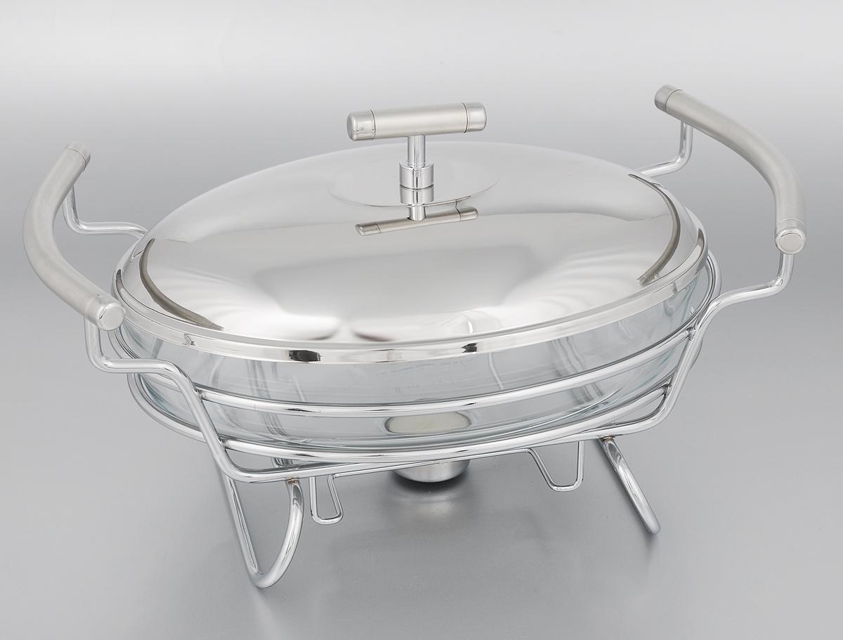 Мармит Mayer & Boch, со свечой, 1,5 л24150Мармит Mayer & Boch, изготовленный из стекла и нержавеющей стали, позволит вам довольно длительное время сохранять температуру блюда и создаст романтическую обстановку. Мармит предназначен для приготовления блюд в духовке и микроволновой печи. Благодаря красивому дизайну мармит можно сразу подавать на стол, не перекладывая блюдо на сервировочные тарелки. Его действие основано на принципе водяной бани. Под емкостью установлена 1 свеча (входит в комплект), которая, в свою очередь, нагревает продукты. Таким образом, данное кухонное приспособление - превосходный способ не дать блюду остыть. При этом пища не пригорает, не пересыхает, сохраняет все свои питательные и вкусовые качества. Стеклянное блюдо можно использовать в микроволновой печи и духовке. Можно мыть в посудомоечной машине и ставить в холодильник. Размер блюда (по верхнему краю): 26 х 18 см.Ширина мармита (с учетом ручек): 33 см.Высота мармита: 14,5 см.Диаметр свечи: 3,7 см.
