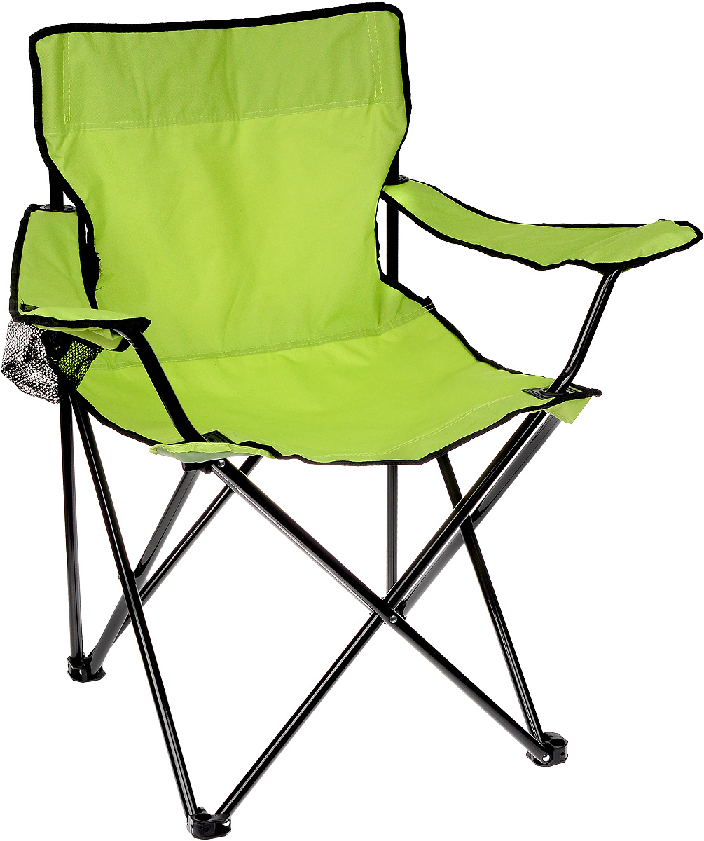 Кресло складное Wildman, с подлокотником, цвет: салатовый, черный, 77 х 50 х 80 см81-446На складном кресле Wildman можно удобно расположиться в тени деревьев, отдохнуть в приятной прохладелетнего вечера.В использовании такое кресло достойно самых лучших похвал. Кресло выполнено из прочной ткани оксфорд, каркас стальной. Кресло оснащено удобными подлокотниками, в одном из них расположен подстаканник. В сложенном виде кресло удобно для хранения и переноски.В комплекте чехол для переноски и хранения.