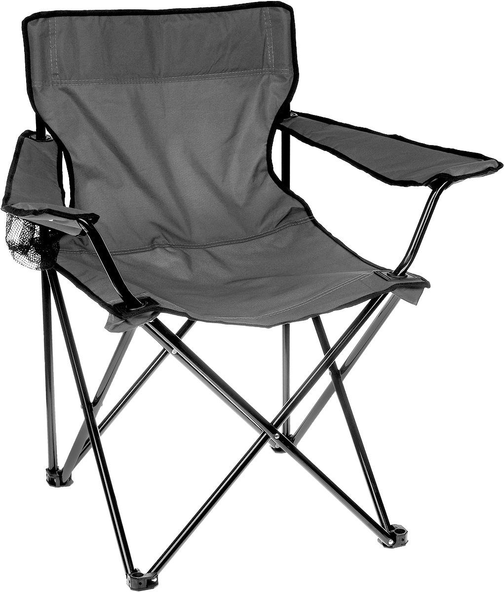 Кресло складное Wildman, с подлокотником, цвет: серый, черный, 77 х 50 х 80 см81-598На складном кресле Wildman можно удобно расположиться в тени деревьев, отдохнуть в приятной прохладе летнего вечера. В использовании такое кресло достойно самых лучших похвал. Кресло выполнено из прочной ткани оксфорд, каркас стальной. Кресло оснащено удобными подлокотниками, в одном из них расположен подстаканник. В сложенном виде кресло удобно для хранения и переноски. В комплекте чехол для переноски и хранения. Максимальная нагрузка: 100 кг.