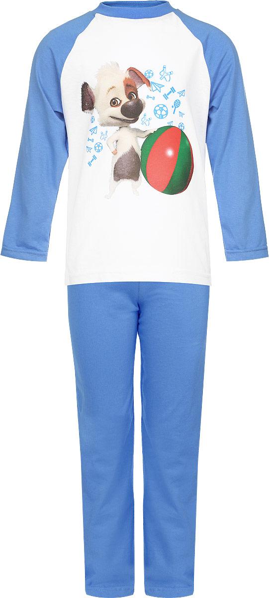 Пижама для мальчика КотМарКот, цвет: синий, белый. 16507. Размер 92, 2 года16507Пижама для мальчика КотМарКот, выполненная из натурального хлопка, идеально подойдет ребенку для отдыха и сна. Материал изделия легкий, тактильно приятный, не сковывает движения, хорошо пропускает воздух. Пижама состоит из футболки с длинным рукавом и брюк. Футболка с длинными рукавами-реглан имеет круглый вырез горловины, дополненный трикотажной резинкой. Изделие украшено ярким принтом с изображением персонажа мультфильма Белка и Стрелка. Озорная семейка. Брюки прямого кроя имеют на талии мягкую резинку, благодаря чему они не сдавливают животик ребенка и не сползают.В такой пижаме ребенок будет чувствовать себя комфортно и уютно!