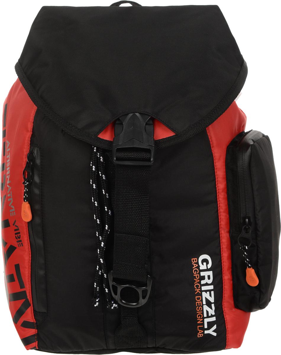 Рюкзак городской Grizzly, цвет: черный, красный, 16 л. RU-615-1/4RU-615-1/4Стильный рюкзак Grizzly выполнен из полиэстера и таслана, оформлен оригинальным принтом и символикой бренда.Рюкзак содержит одно вместительное отделения, которое закрывается затягивающимся шнуром. Внутри отделения есть карман на застежке-молнии. Снаружи, сбоку изделия, расположен объемный карман. Лицевая сторона изделия дополнена двумя врезным карманами на молнии. Верх рюкзака соединяется с основной частью с помощью фастекса. Рюкзак оснащен ортопедический спинкой, петлей для подвешивания, двумя практичными лямками регулируемой длины.Практичный рюкзак станет незаменимым аксессуаром и вместит в себя все необходимое.