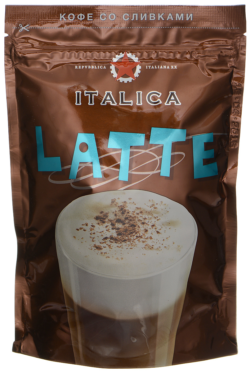 Italica Latte напиток кофейный растворимый, 100 г111758Italica Latte - это купаж кофейных зерен из Кении и Никарагуа, имеющих естественную сливочную мягкость вкуса и обжаренных по традиционному итальянскому рецепту. Напиток содержит высококачественные сухие сливки, позволяющие быстро приготовить превосходный итальянский кофе-латте - нежный, с густой ароматной пенкой.