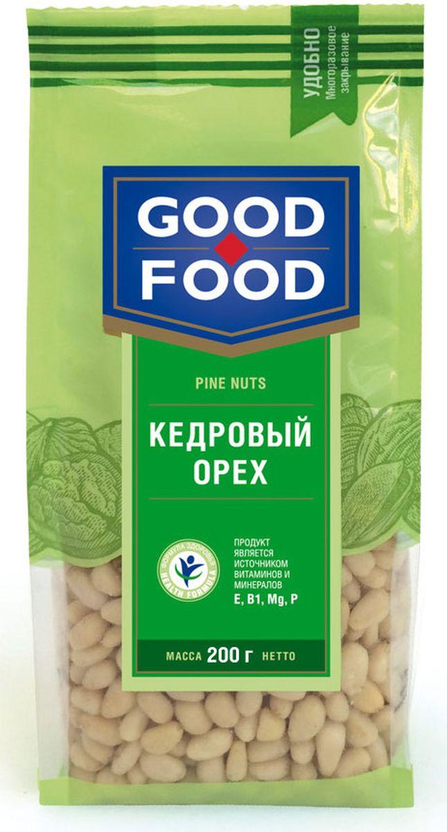 Good Food кедровыйорех,200г4620000677161Кедровый орех не только вкусный, но и исключительно полезный продукт для здоровья человека. Кедровый орех не содержит холестерина, отличается повышенным содержанием белка - до 44% (в 12 раз больше, чем в курином мясе). Врачи рекомендуют употреблять в пищу кедровые орешки вегетарианцам, чтобы компенсировать белковый голод. В этом орехи содержатся практически все незаменимые аминокислоты, также кедровый орех отличается высоким содержанием антиоксидантов, предотвращающих старение организма.
