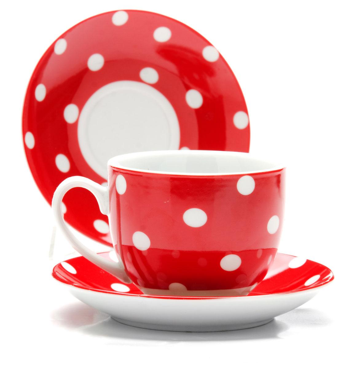 Набор чайный Loraine, цвет: белый, красный, 12 предметов. 2590425904Чайный набор Loraine состоит из 6 чашек и 6 блюдец. Изделия выполнены из высококачественного костяного фарфора и оформлены принтом в горошек. Такой набор изящно дополнит сервировку стола к чаепитию. Благодаря оригинальному дизайну и качеству исполнения он станет замечательным подарком для ваших друзей и близких. Объем чашки: 240 мл. Диаметр чашки по верхнему краю: 8,5 см. Высота чашки: 7 см. Диаметр блюдца: 14 см.Высота блюдца: 2,2 см.