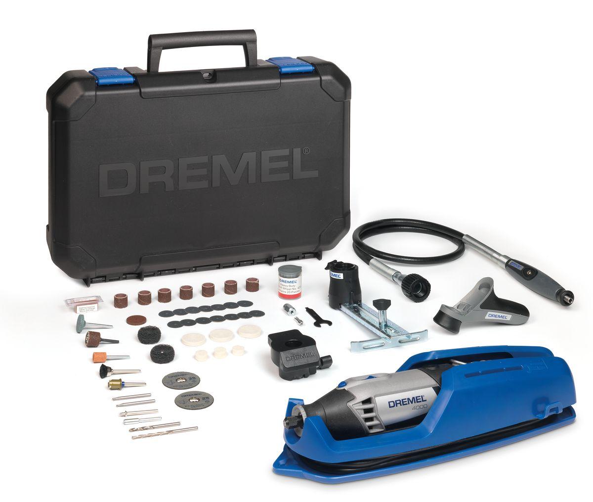 Многофункциональный инструмент Dremel 4000- 4/65F0134000JTМощный и точный многофункциональный инструмент Dremel 4000- 4/65 обеспечивает максимальную универсальную производительность. Многофункциональный инструмент со сменными насадками и приставками обеспечит такой контроль. Инструмент оснащен мягкой ручкой с возможностью поворота на 360 градусов, повышающей маневренность в любом положении. Обрабатывайте даже самые мелкие детали в самых неудобных и труднодоступных местах. Скорость вращения регулируется во всем диапазоне и имеет отдельный переключатель, поэтому вы всегда сможете продолжить свою работу в том режиме, на котором остановились. Высокопроизводительный двигатель и константная электроника позволяют развивать максимальную силу. Шлифуйте, полируйте, режьте и выполняйте обработку любых материалов с одинаковой легкостью.Особенности модели:Двигатель мощностью 175 Вт для максимальной производительности.Инновационный наконечник EZ Twist: для смены насадок не требуется ключ.Рукоятка с мягкой накладкой для комфортной работы.Полный контроль над регулированием скорости (5000 – 35000 об./мин.) для максимальной точности.Константная электроника обеспечивает необходимый крутящий момент и увеличивает производительность.Отдельный выключатель с интегрированной функцией блокировки цангового зажима.Комплектация: 65 высококачественных насадок Dremel в мини-футляре (в том числе стартовый набор EZ SpeedClic).Гибкий вал (225).Насадка в виде карандашаЛинейный фрезерный циркуль (678).Шлифовальная платформа (576).Рукоятка для точных работ (577).Инструкция по эксплуатации.Вместительный и прочный кейс для хранения, со съемным лотком для насадок.В комплект входит уникальная подставка для крепления инструмента, упрощающая хранение вашего инструмента.