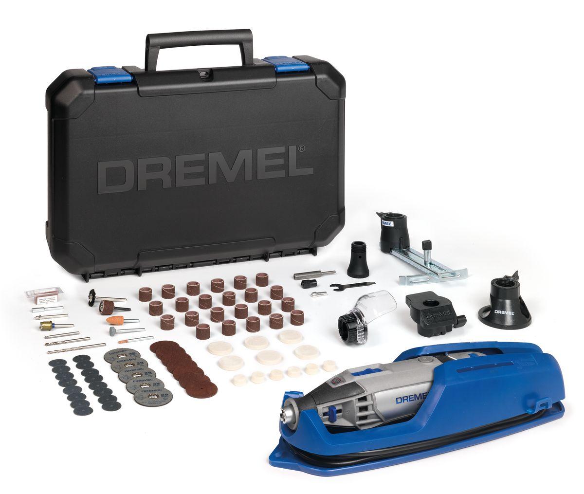 Многофункциональный инструмент Dremel 4200-4/75F0134200JHНеограниченные возможности – один инструмент. Мощный многофункциональный инструмент Dremel 4200 способен одинаково хорошо выполнять абразивную обработку, шлифование, фрезерование и pезку. Константная электроника обеспечивает исключительную мощность, необходимую для поддержания максимальной производительности. Регулятор скорости во всем диапазоне запоминает выбранную частоту вращения после выключения инструмента. Высочайшая точность даже при работе в неудобных углах и труднодоступных местах. Просто переключайтесь между сменными насадками с помощью системы EZ Change. Потяните вниз рычаги, задвиньте насадку – и вы готовы к работе.Комплектация:Dremel 420075 высококачественная насадка DremelНаправляющая для резки ()Линейный фрезерный циркуль (678)Шлифовальная платформа (576)Приспособление Comfort Guard (550)Вместительный и прочный кейс для хранения, со съемным лотком для насадокВ комплект входит уникальная подставка для крепления инструмента, упрощающая хранение вашего инструмента.Технические характеристики:Входная номинальная мощность: 175 Вт Напряжение: 230 В Вес: 0,66 кг Длина: 22,5 см Частота вращения на холостом ходу: 5.000 - 33.000 об/мин Регулировка скорости: Полностью регулируемый Система быстрой замены насадок: Да: EZ Change