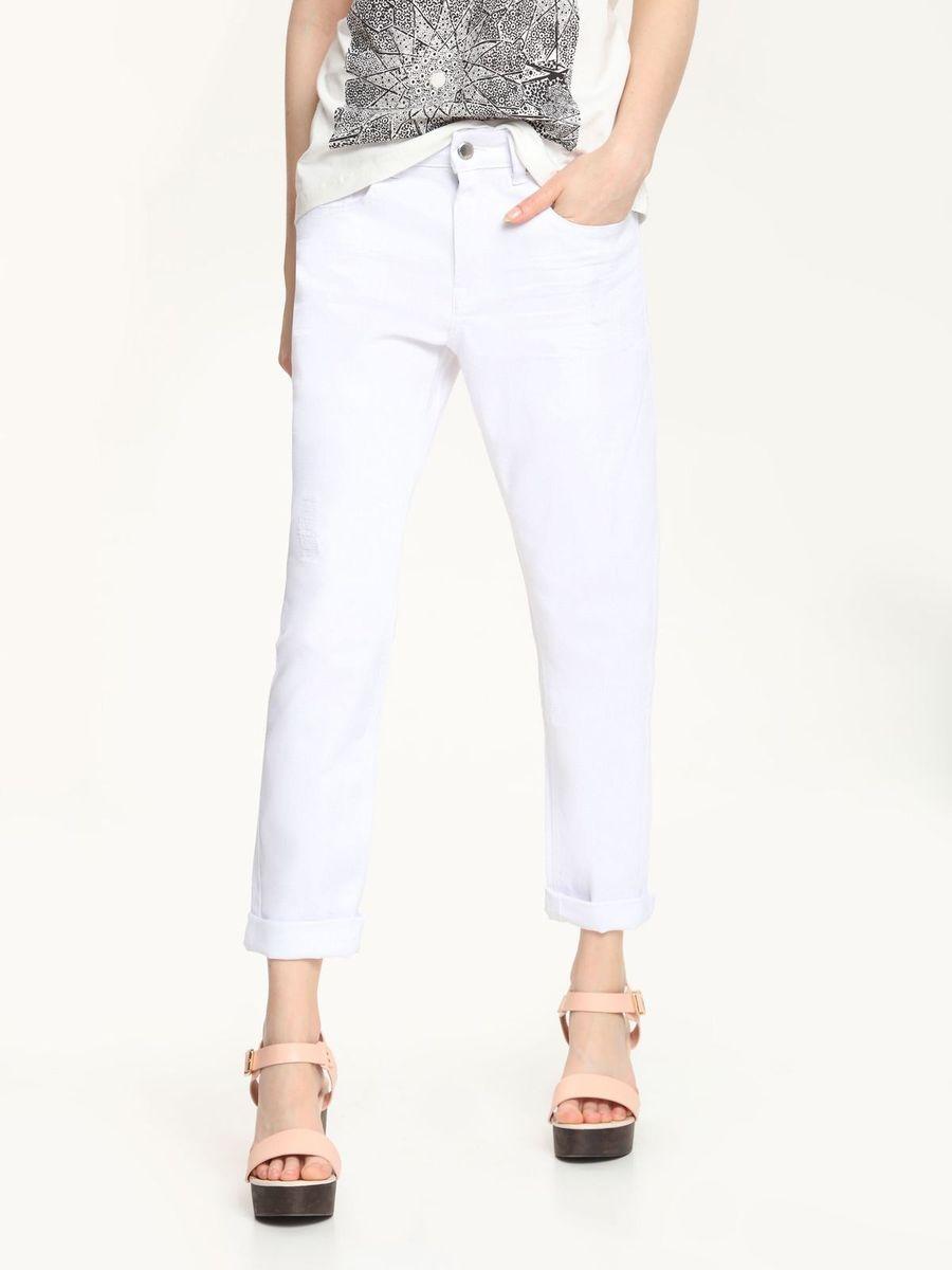 Брюки женские Top Secret, цвет: белый. SSP2249BI. Размер 34 (40)SSP2249BIСтильные женские брюки Top Secret, выполненные из высококачественного материала, отлично подойдут на каждый день.Модель зауженного кроя, укороченной длины и средней посадки. На поясе брюки застегиваются на пуговицу и ширинку на застежке-молнии. Брюки дополнены двумя втачными карманами и одним накладным маленьким кармашком спереди и два накладных кармана сзади.