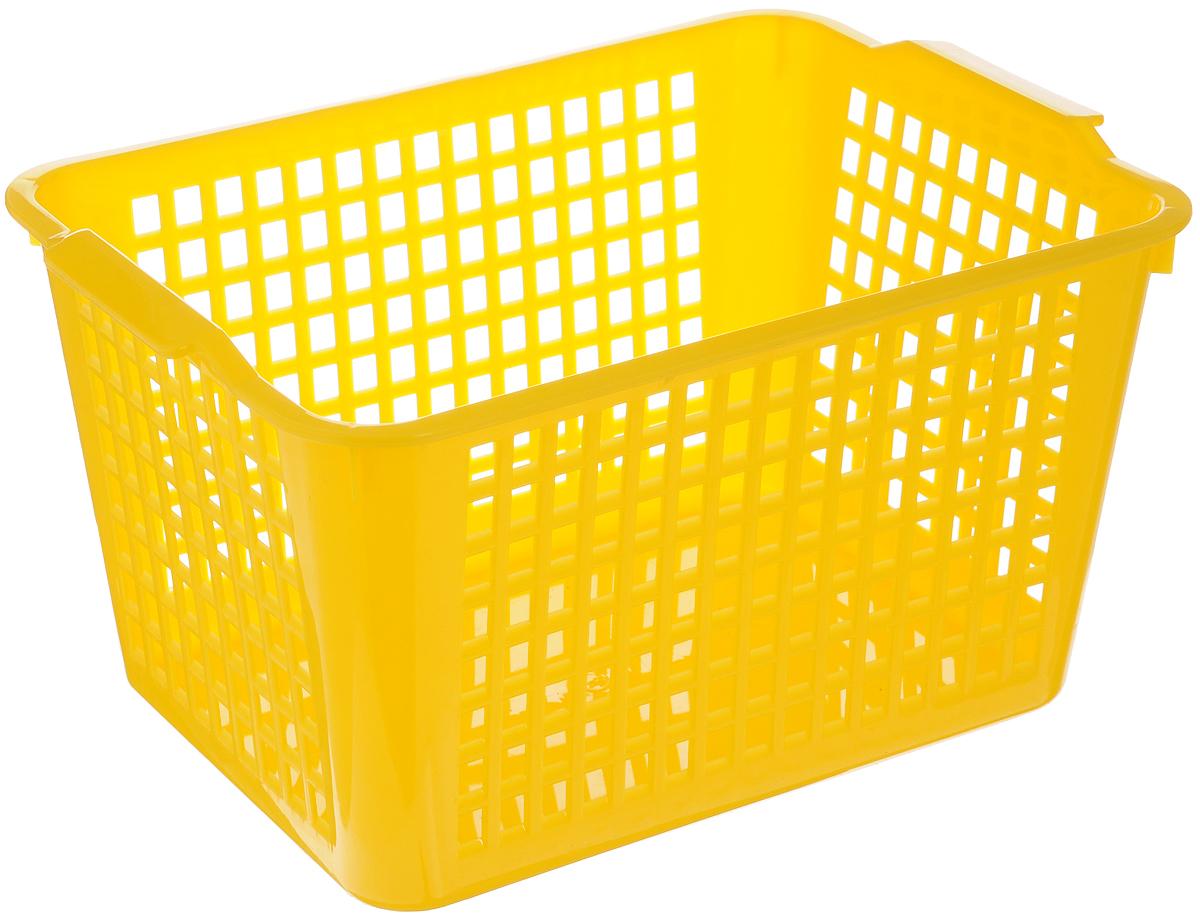 Корзинка универсальная Бытпласт, цвет: желтый, 27 х 19 х 14,5 см4312245_желтыйУниверсальная корзинка Бытпласт изготовлена из высококачественного пластика с перфорированными стенками и сплошным дном. Такая корзинка непременно пригодится в быту. Изделие подходит для хранения кухонных принадлежностей, специй, аксессуаров для ванной и других бытовых предметов.