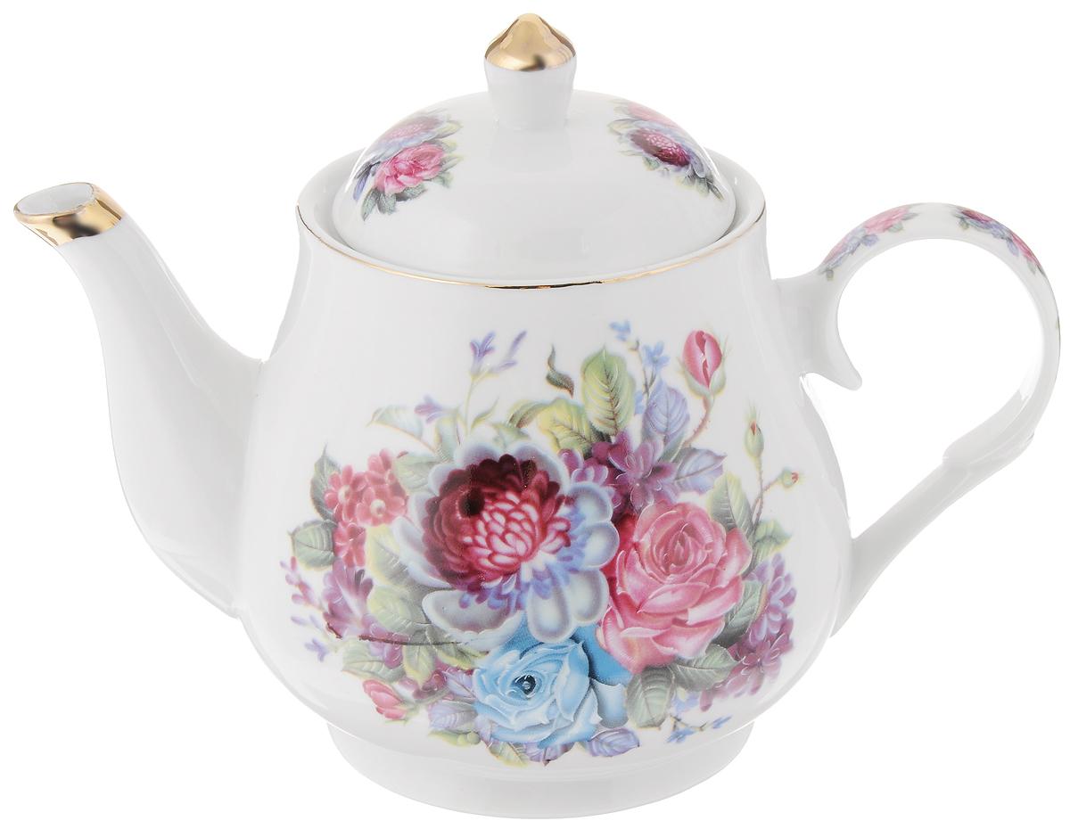 Чайник заварочный Loraine Букет, 1,1 л24572Заварочный чайник Loraine Букет изготовлен из высококачественной керамики с гладким глазурованным покрытием. Изделие декорировано красочным цветочным рисунком. Чайник снабжен удобной ручкой и широким носиком. В основании носика расположены фильтрующие отверстия от попадания чаинок в чашку. Изысканный заварочный чайник украсит сервировку стола к чаепитию. Благодаря красивому утонченному дизайну и качеству исполнения он станет хорошим подарком друзьям и близким. Диаметр чайника (по верхнему краю): 7 см. Высота чайника (без учета крышки): 13 см.
