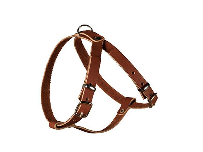 Шлейка для собак Каскад, ширина 1,2 см, цвет: темно-коричневый01003011кШлейка кожаная коричневая ширина 12 мм шея 33-41 см, грудь 35-43 см