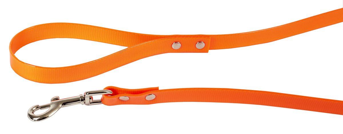 Поводок для собак Каскад Синтетик, цвет: оранжевый, ширина 1,5 см, длина 2 м поводок для собак collar soft цвет коричневый диаметр 6 мм длина 1 83 м