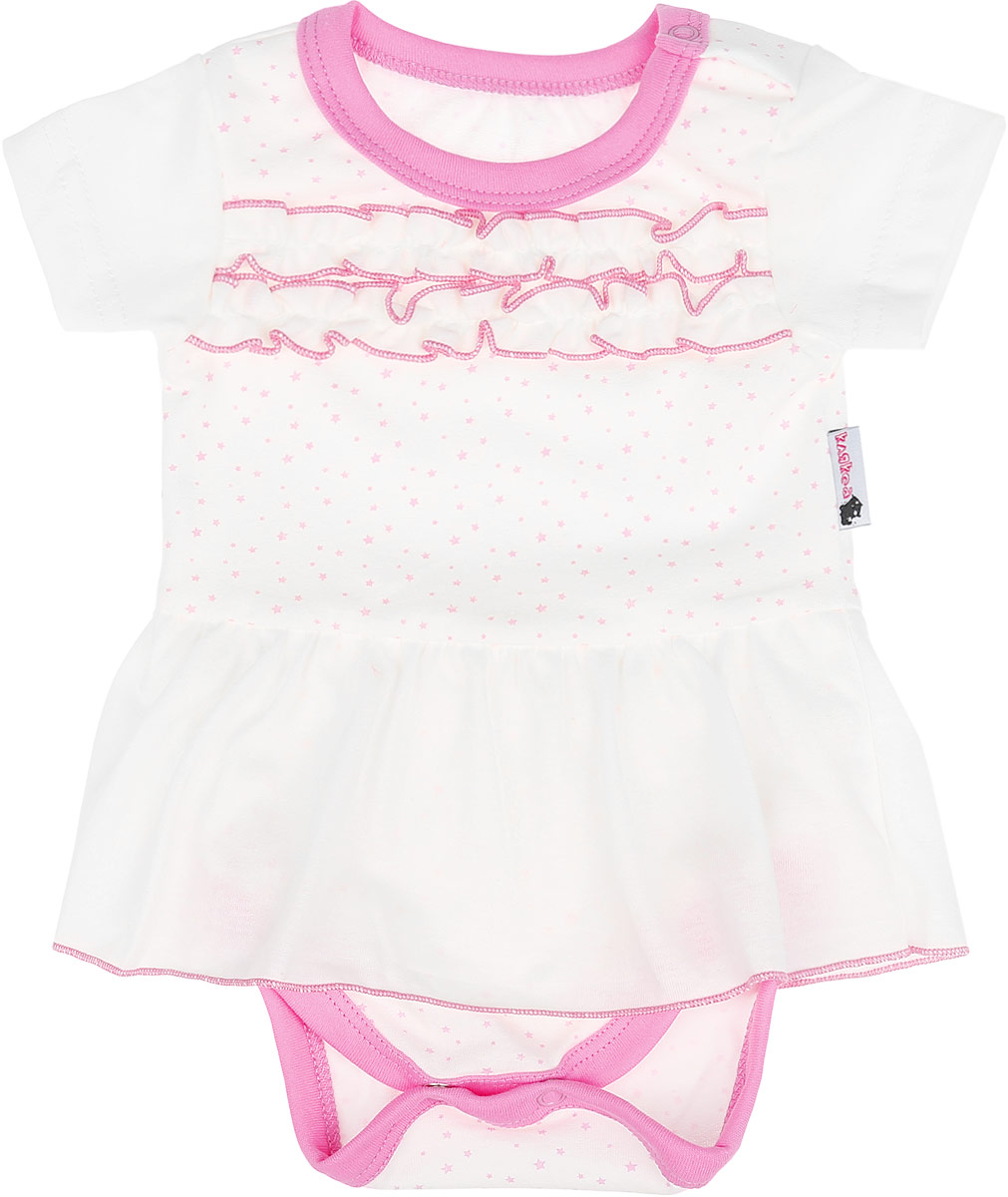 Боди-платье для девочки Клякса, цвет: молочный, розовый. 10зд-325. Размер 80