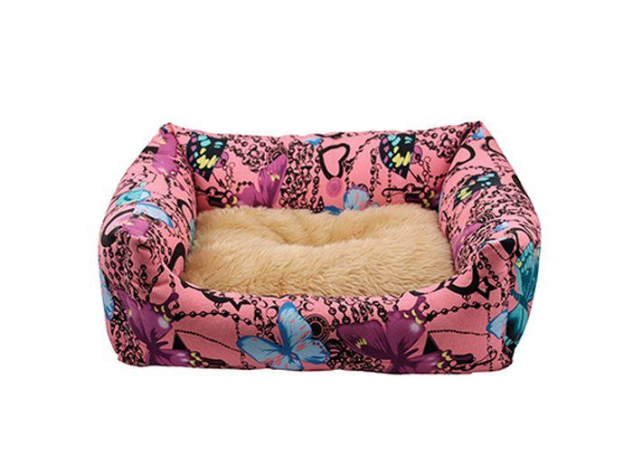 Лежак для животных Каскад Флоренция. №3, цвет: розовый, 65 х 51 х 18 см игрушка для животных каскад удочка с микки маусом 47 см