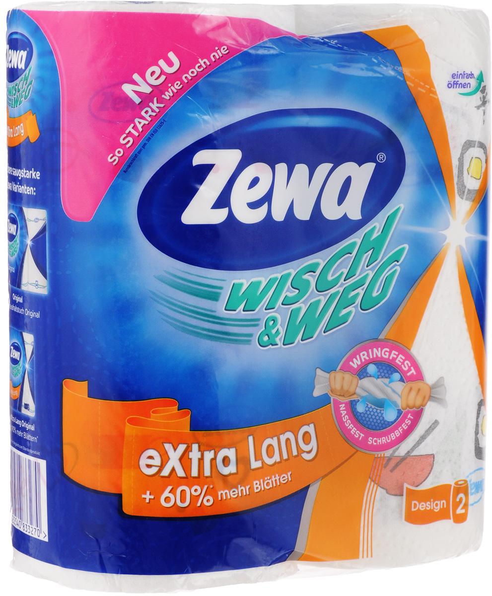 Полотенца бумажные Zewa Wisch & Weg, с рисунком, двухслойные, 2 рулона39620 с рисункомДвухслойные кухонные полотенца Zewa Wisch & Weg, выполненные из 100% целлюлозы, подарят превосходный комфорт и ощущение чистоты и свежести. Бумажные полотенца Zewa - это незаменимый атрибут чистой кухни. Они просты в использовании, их не надо стирать и просто утилизировать. Безупречно белые, они подчеркивают чистоту вашего дома и вашу искреннюю заботу о близких. Специальное тиснение улучшает способность материала впитывать влагу, что позволяет нашим полотенцам еще лучше справляться со своей работой. Натуральные материалы, используемые при изготовлении продукции Zewa, безопасны для людей, животных и окружающей среды, не вызывают раздражения и аллергии и не оставляют мелкой бумажной пыли. Классические бумажные полотенца Zewa могут использоваться не только на кухне, но и для других целей, поскольку отлично вытирают руки и убирают грязь с самых разных поверхностей. Стол, пол, подоконник - все будет чистым и свежим, а полотенце просто отправится в ведро. Выбирая данный продукт, вы можете быть уверены, что нашли лучшее. Материал: 100% первичная целлюлоза.Количество листов (в одном рулоне): 72 шт.Количество слоев: 2.Размер листа: 26 х 24 см.Длина рулона: 17,5 м.
